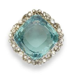 An aquamarine and diamond brooch/pendant, circa 1905 The square cushion-shaped faceted aquamarine, claw-set within a foliate frame of old brilliant and rose-cut diamonds, mounted in silver and gold, with detachable brooch fitting and articulated pendant Gemstone Brooch, Diamond Brooch, Modern Jewelry, Fine Jewelry, Antique Jewelry, Vintage Jewelry, Silver Jewellery, Bijoux Art Deco, Aquamarine Jewelry