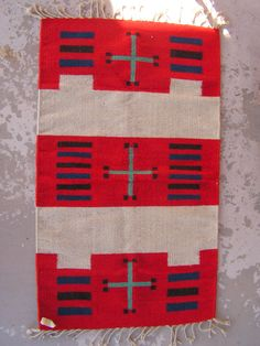 Vintage Zapotec Mexican Rug / Red Blue Black Rug Runner / Southwestern Blanket Cross Rug / 39 x 23 Rug / Mexican Tribal Decor