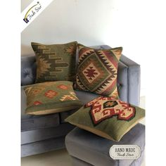 Hand Woven Kilim Cushion Cover Vintage Jute Rug Pillow Case Lot Of 4 Pcs Boho Throw Pillows, Boho Cushions, Vintage Cushions, Throw Cushions, Linen Pillows, Throw Pillow Cases, Kilim Pillows, Pillow Shams, Handmade Cushions