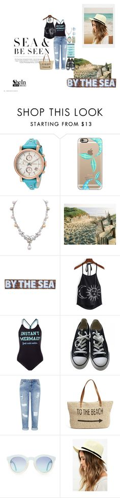 """""""Beach Mermaid"""" by keki-love ❤ liked on Polyvore featuring FOSSIL, Casetify, New Look, Converse, Miss Selfridge, Straw Studios, Lulu*s and Lexington"""