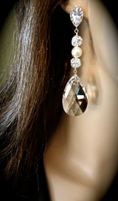 Bridal jewelry  Crystal earrings  Long  by QueenMeJewelryLLC, $58.99