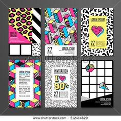 Memphis cards with geometric elements. Set of vector banners in trendy 80s - 90s memphis style. Can be used in cover design, book design, advertising, posters and greeting cards.
