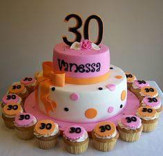 30th Birthday cake and cupcakes by cakespace - Beth (Chantilly Cake Designs), via Flickr