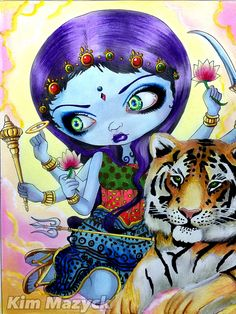 ✨Durga and The Tiger✨ Book: Jasmine Becket-Groffith's A Fantasy Art Adventure Color Book I used: Caran dAche Supracolor, Caran dAche Luminance , Caran dAche Museum, and Rembrandt (background) Fairy Pictures, Fantasy Pictures, Cute Pictures, Colouring Pages, Adult Coloring Pages, Coloring Books, Amy Brown, Caran D'ache, Colouring Techniques