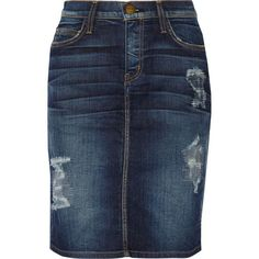 Current/Elliott The Stiletto distressed denim skirt (€90) ❤ liked on Polyvore featuring skirts, dark denim, dark blue denim skirt, button skirt, knee high skirts, knee length skirts and current elliott skirt