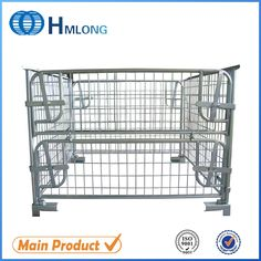 Powder coating collapsible steel cage pallets box basket pallet