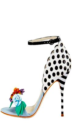 Sophia Webster Polka Dot & Floral Strap Heels