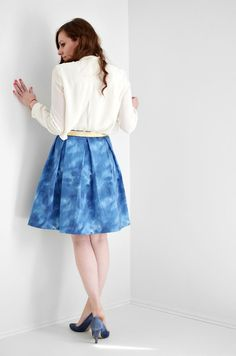 I've had the skirt of this dress in my head for a while now. It's simple, too. Three pleats in the front and three in back. So for Easter I drafted up a pattern for the skirt and I thou…
