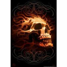 Tom Wood - Flaming Skull - art prints and posters Rauch Tattoo, Art Harley Davidson, Skull Pictures, Skull Artwork, Skull Wallpaper, Desenho Tattoo, Skull Tattoos, Biker Tattoos, Tatoos
