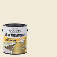 Rust-Oleum RockSolid Deck Resurfacer is a water-based coating designed for resurfacing heavily worn decks and patios. RockSolid Deck in a Day Program eliminates the need for stripping and sanding. Deck Cleaner, Waterproof Paint, Concrete Coatings, Concrete Wood, Concrete Porch, Grey Exterior, Sailing Outfit, Composite Decking, Weathered Wood