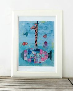 Giraffe Submarine Art Print of Original Painting by coocoovaya, Nursery Art, Nursery Decor, Wall Decor, Giraffe Illustration, Quirky Art, Happy Colors, Framed Art Prints, Art For Kids, Original Paintings
