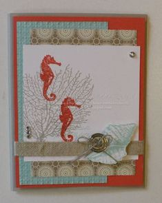 SU! By the Tide stamp set; Print Poetry DSP; colors are Pool Party, Calypso Coral and Crumb Cake - Holly Krautkremer