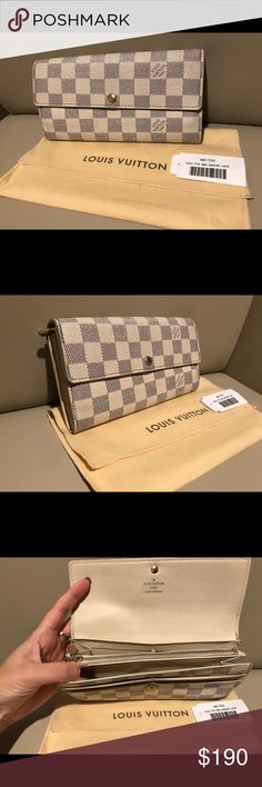 Damier Azur Louis Vuitton leather long wallet Used: Damier Azur Louis Vuitton leather long wallet Louis Vuitton Bags Wallets