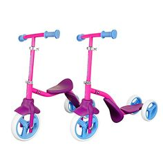 Swagtron Toddler 3 Wheel Scooter & Ride-On Balance Trike Adjustable for 5 Year Old Boy or Girl Transforms in Seconds (Blue / Yellow / Pink). 3 Wheel Scooter, Scooter Bike, Kids Scooter, Little Girl Gifts, Balance Bike, 3rd Wheel, Sensory Toys, 5 Year Olds, Old Boys