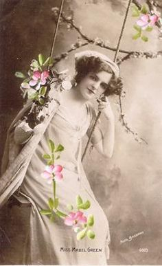 Vintage lady on swing