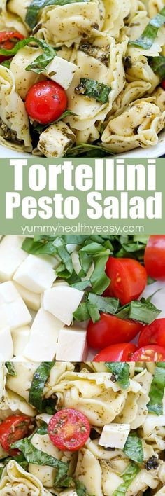Need a new side dish idea? Try this Easy Tortellini Pesto Pasta Salad! It's simple to make and tastes amazing! Full of tortellini pasta, cherry tomatoes, mozzarella, basil and pesto - you can't go wrong!