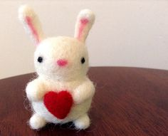 Needle Felted Bunny with Heart Rabbit White  by WildWhimsyWoolies