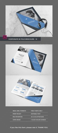 Bifold Brochure #12 - #Corporate #Brochures Download here: https://graphicriver.net/item/bifold-brochure-12/19367164?ref=alena994