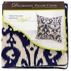 """Curl up with comfort and style with Blue & BeigeIkatDecorative Pillow Cover. This decorative pillow cover features a blue and beigeikatpattern printed on a blend of cotton and linen. This pillow cover is a trendy yet functional way to add a touch of your personal style to your favorite room!    Dimensions:      Length: 18""""    Width: 18""""      Use with 18"""" x 18"""" pillow insert (not included).    75% Cotton, 25% Linen."""