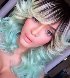 Green ombre dyed hair