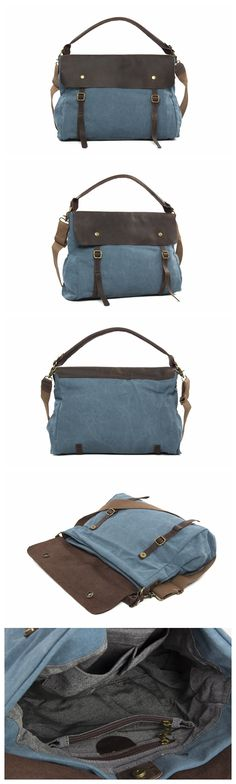 High Fashion Canvas Leather Shopping Bag Messenger Bag Briefcase