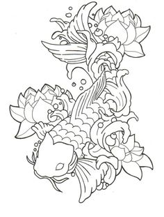 Grey Ink Waves And Koi Fish Tattoos On Half Sleeve photo - 1