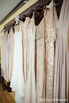 Mix and match bridesmaid dresses in gold and blush! Details on BigCityLittleBlog.com