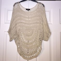 Cream Knit top Cream colored knit/ lace top. Bought from a boutique, fun unique find! Super gorgeous on! Wear with a colored or plain tank underneath. Also cute worn off the shoulder! Kaktus Tops