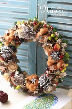Christmas wreath 2014 クリスマスリース  コットンと星