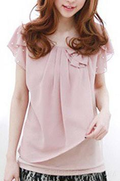 New Arrival Sweet Bow Pearl Sleeves Casual Blouse Blouses