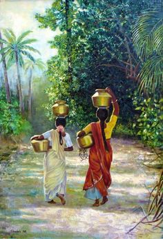 """: """"South Indian Water Carriers"""" (Original art by Chung Ae Kim) walking away Indian Women Painting, Indian Artist, Indian Artwork, Indian Art Paintings, Art Village, India Painting, Woman Painting, Deco Jungle, Indian Drawing"""