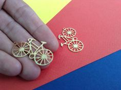 Gold Plated Bicycle Pendant 1 Pc Exclusive at by GoldieSupplies