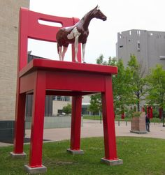 "Horse on Chair...or ""The Yearling"" to be found between the Denver Art Museum and the Denver Public Library."