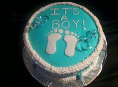 Yellow cake covered with buttercream icing. Decorations are made from fondant with plastic pacifiers as keepsakes. Baby Shower Cakes For Boys, Baby Boy Shower, Icing Decorations, Buttercream Icing, Cake Cover, Pacifiers, Cake Creations, Keepsakes, Baby Ideas