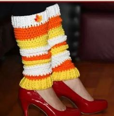 Candy Corn Crochet Leg Warmers | Embrace your love for Halloween and its iconic candy by working up a pair of these crochet leg warmers!