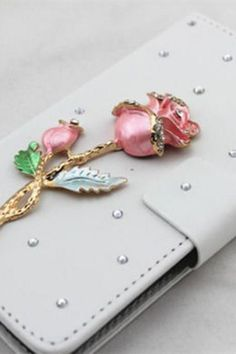 Rose bling iPhone  leather wallet case