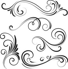 Buy Stock Photos and Royalty-Free Image Subscriptions Swirl Tattoo, Filigree Tattoo, Filigree Design, Swirl Design, Swirl Pattern, Pattern Art, Mago Tattoo, Stencils For Wood Signs, Decorative Lines