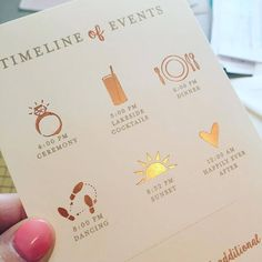 Rose gold wedding inspiration - Ginger P Design. Rose gold foil timeline of wedding events.: