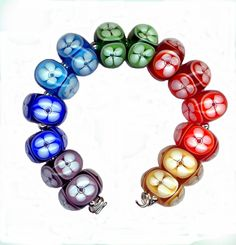 Lampwork Glass Bead Floral Window Poked Eye Rainbow Bubble Beads by Watkins Studio on Etsy