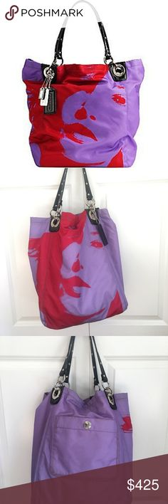 **RARE** COACH Madison Girl Nylon PhotoPrint Bag Strap Drop:	8in.	Style:	T Size:	Large	Material:	Nylon, Crinkled Mirrored Leather Bag's Condition:	Excellent, No Major Wear! Absolutely  Others:	Sold Out+RARE  Shade:	Red, Purple Product:	13056 Coach Madison Nylon Photoprint Shopper Tote	Bag Height:	13in. Hardware:	Silver, Nickel	Bag Depth:	9in Bag Length:	14in. Coach Bags Totes