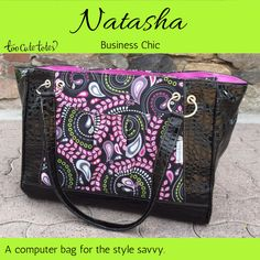"Natasha is #TooCuteTotes business with a twist.  Measuring 18"" x 13"" x 7"", she is big enough to meet all of your business needs and more! Natasha comes standard with a large open front pocket, a large rear zippered pocket, dual grommeted o-ring straps, and a zipper closure. Her interior contains single side pockets (2 + pen pocket) and a zippered pocket. With the added computer sleeve, Natasha can comfortably hold a #computer up to 16"".  Natasha starts at $134."