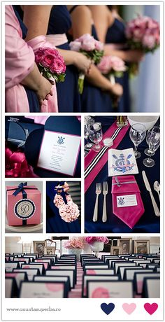 Color themes: marine blue, pink, fucsia