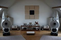 High end audio audiophile Vienna Physix Diva Grandezza horn speakers.