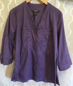 Eddie Bauer Womens Purple Striped Button Up Lightweight Shirt Size Large L #EddieBauer #KnitTop