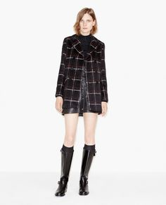 Checked mohair peacoat