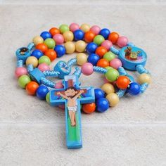 Items similar to SALE! Children's Rainbow Rosary - Kids, Baby, Juvenile Catholic Gift - Pink or Blue - Kids Rosaries on Etsy Catholic Kids, Rosary Catholic, Diy Birthday, Friend Birthday, Jesus Cartoon, Calendar Reminder, Christian Kids, Christian Faith, Praying The Rosary