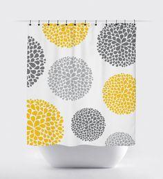Yellow And Grey Flower Fabric Shower Curtain High Quality Bathroom Decor Home