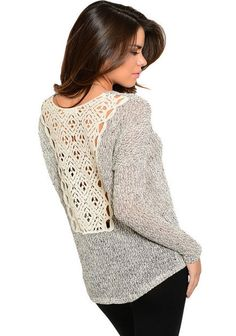Fall Fashion Back Geo Lace Crochet Detail Gray Knit Top - Andreas Boutique #ootd #ootn #style