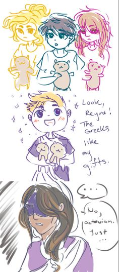 not sure how to feel about cute, happy Octavian. But lemme just say- Percy looks cute as Hades. Tio Rick, Uncle Rick, Percy Jackson Books, Percy Jackson Fandom, Saga, The Lost Hero, Sea Of Monsters, Team Leo, Trials Of Apollo