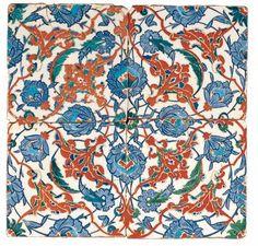 TURKEY, IZNIK Ottoman period 1290-1922 Turkey  Glazed tiles  16th century, Iznik  earthenware, glaze decoration